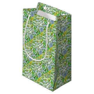 Sacola Para Presentes Pequena Pop art abstrato da folha no verde branco e no pó