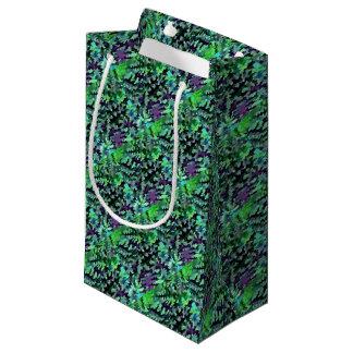 Sacola Para Presentes Pequena Pop art abstrato da folha no verde e no roxo de