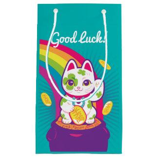 Sacola Para Presentes Pequena Pote de boa sorte de Maneki Neko do gato de ouro