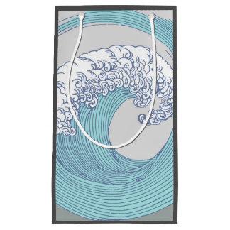 Sacola Para Presentes Pequena Praia azul do oceano do impressão da arte da onda
