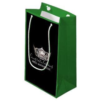 Sacola Para Presentes Pequena Presente de prata do verde da coroa da senhorita