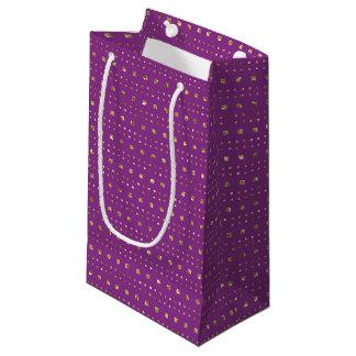 Sacola Para Presentes Pequena Profundamente - os quadrados do rosa e do ouro