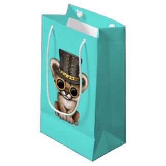 Sacola Para Presentes Pequena Puma bonito Cub do bebê de Steampunk