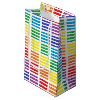 Sacola Para Presentes Pequena Quadrados e listras do arco-íris