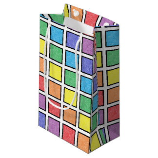 Sacola Para Presentes Pequena Quadrados estáticos esboçados preto do arco-íris