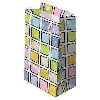 Sacola Para Presentes Pequena Quadrados Pastel estáticos esboçados preto do