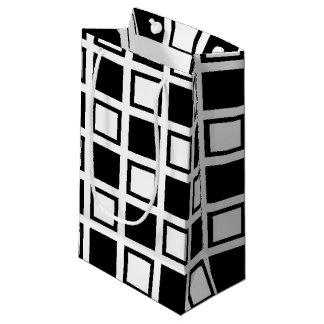 Sacola Para Presentes Pequena Quadrados preto e branco