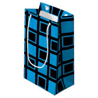 Sacola Para Presentes Pequena Quadrados pretos e azuis