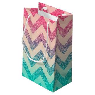 Sacola Para Presentes Pequena Refrigere o brilho na moda de Ombre do ziguezague