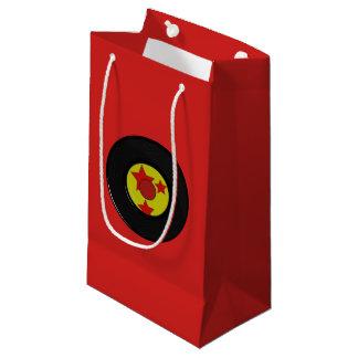 Sacola Para Presentes Pequena Registro de vinil vermelho