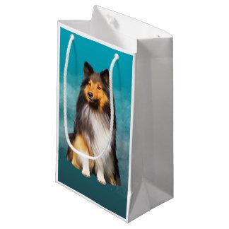 Sacola Para Presentes Pequena Retrato da arte do Sheepdog de Sheltie Shetland