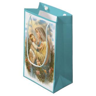 Sacola Para Presentes Pequena Rosas abençoados de Jesus do bebê da mãe