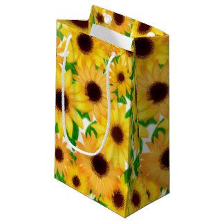 Sacola Para Presentes Pequena Saco amarelo alegre do presente dos girassóis