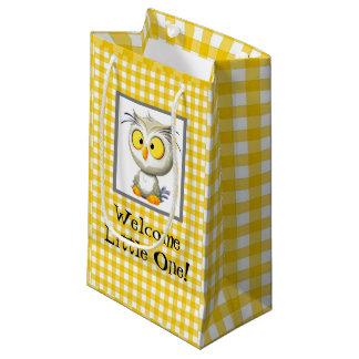 Sacola Para Presentes Pequena Saco amarelo & branco da coruja de Oliver do chá