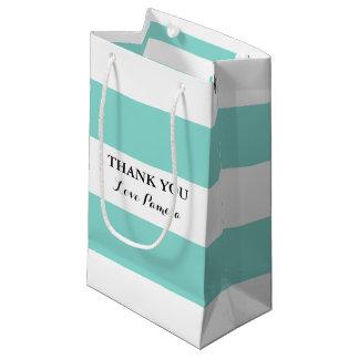 Sacola Para Presentes Pequena Saco azul e branco da NOIVA & do CO das listras do