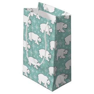 Sacola Para Presentes Pequena Saco bonito verde do teste padrão do urso polar da