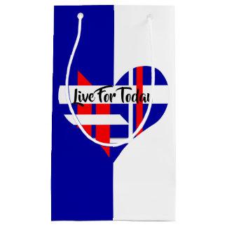 Sacola Para Presentes Pequena Saco branco e azul vermelho do presente do favor