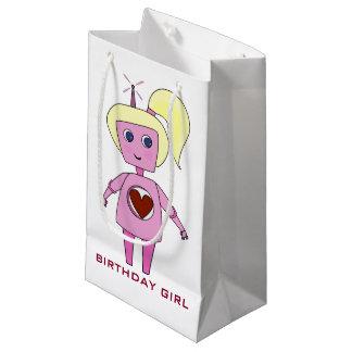 Sacola Para Presentes Pequena Saco cor-de-rosa bonito do presente do robô do