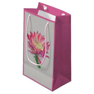 Sacola Para Presentes Pequena Saco cor-de-rosa do presente da flor da aguarela