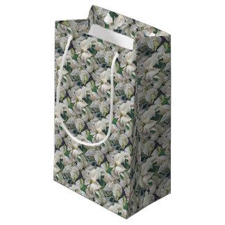 Sacola Para Presentes Pequena Saco do presente coberto com as poinsétias brancas