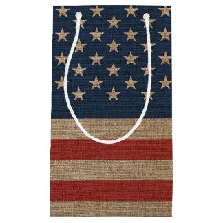 Sacola Para Presentes Pequena Saco do presente com a bandeira americana em
