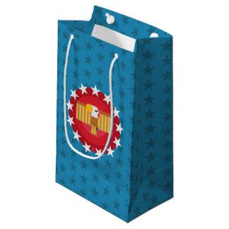 Sacola Para Presentes Pequena Saco do presente de Eagle da liberdade (azul) -
