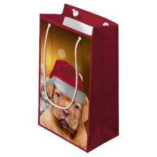 Sacola Para Presentes Pequena Saco do presente do Natal do filhote de cachorro
