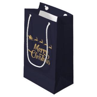 Sacola Para Presentes Pequena Saco do presente do Natal do Nave e do ouro