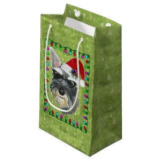 Sacola Para Presentes Pequena Saco do presente do Natal pequeno -- Schnauzer