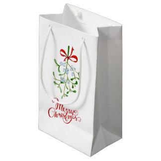 Sacola Para Presentes Pequena Saco do presente do visco do Feliz Natal