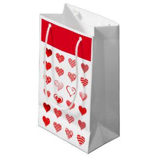 Sacola Para Presentes Pequena Saco do presente dos corações dos namorados