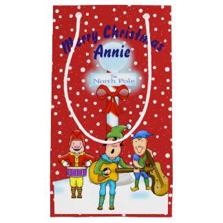Sacola Para Presentes Pequena Saco do presente dos duendes do Natal do músico
