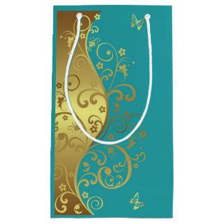 Sacola Para Presentes Pequena Saco do presente--Redemoinhos & cerceta do ouro