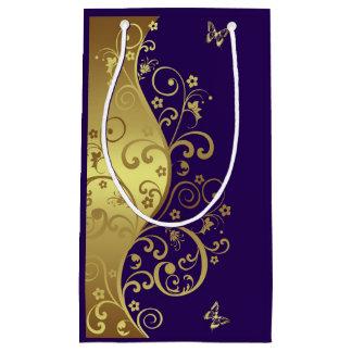 Sacola Para Presentes Pequena Saco do presente--Redemoinhos do ouro & roxo
