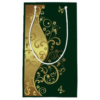 Sacola Para Presentes Pequena Saco do presente--Redemoinhos do ouro & verde
