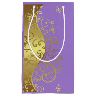 Sacola Para Presentes Pequena Saco do presente--Redemoinhos & lavanda do ouro
