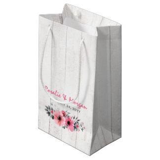 Sacola Para Presentes Pequena Saco floral de madeira rústico do favor do