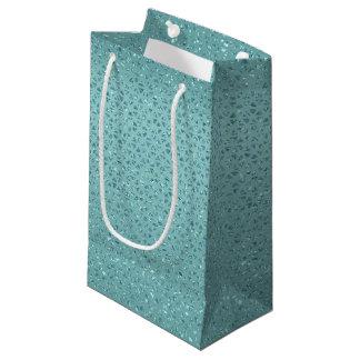 Sacola Para Presentes Pequena Saco Glittery do presente de turquesa