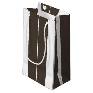 Sacola Para Presentes Pequena Saco listrado do Taupe e o branco do presente