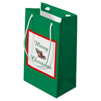 Sacola Para Presentes Pequena Saco pequeno verde do presente do Feliz Natal por