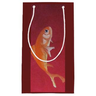 Sacola Para Presentes Pequena saco vermelho do presente dos peixes