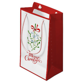 Sacola Para Presentes Pequena Saco vermelho e branco do visco do Feliz Natal do