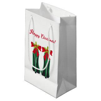 Sacola Para Presentes Pequena Saltos altos verdes com arcos do Natal