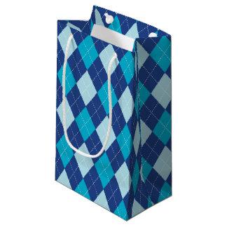Sacola Para Presentes Pequena Teste padrão azul de Argyle