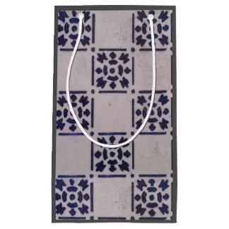 Sacola Para Presentes Pequena Teste padrão branco azul do impressão da arte do