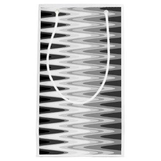 Sacola Para Presentes Pequena Teste padrão cinzento branco preto do ziguezague