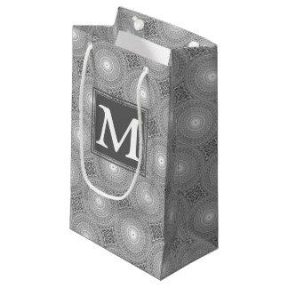 Sacola Para Presentes Pequena Teste padrão cinzento dos círculos do monograma