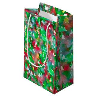 Sacola Para Presentes Pequena Teste padrão da aguarela da árvore de Natal