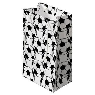 Sacola Para Presentes Pequena teste padrão da bola de futebol no black&white