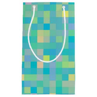Sacola Para Presentes Pequena Teste padrão de mosaico multicolorido alegre na